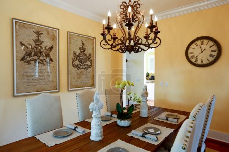 Served dining table in luxury  house