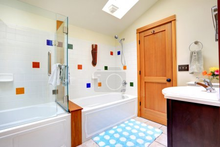 Bright bathroom with skylight