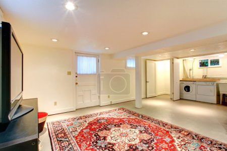 House interior. Basement room with TV and laudry area