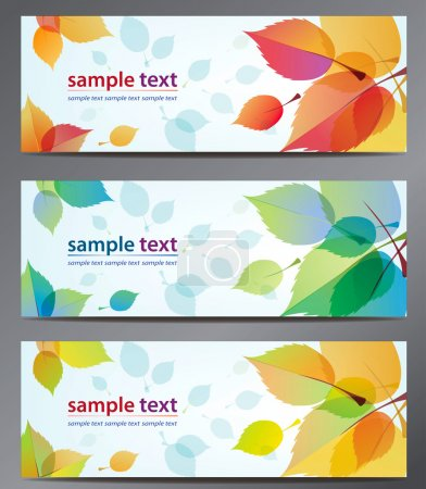 Illustration pour Automne laisse vectoriel fond modèle de brochure. Jeu de cartes florales - image libre de droit