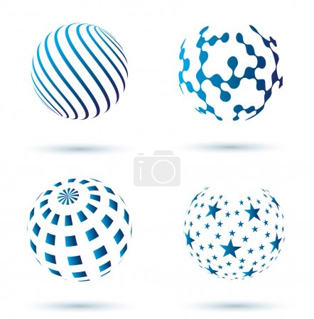 Illustration for Set of Abstract globe vector icons - Royalty Free Image