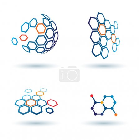 Hexagonal abstract icons, business and communication concepts