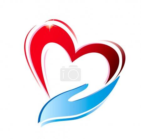 Photo pour Main tenant une icône de coeur, symbole vectoriel isolé - image libre de droit