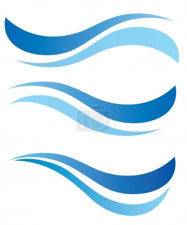 Illustration pour Ensemble vectoriel d'éléments de conception d'ondes d'eau - image libre de droit