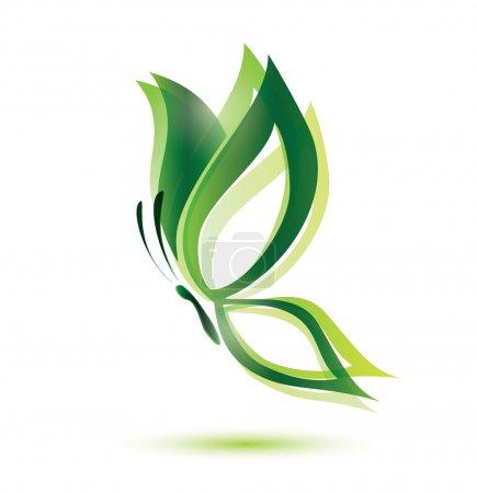Illustration pour Papillon vert, concept écologique, symbole vectoriel isolé - image libre de droit