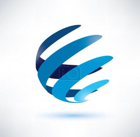 Illustration pour Symbole abstrait globe, icône isolé vecteur, internet et le concept de réseau social - image libre de droit