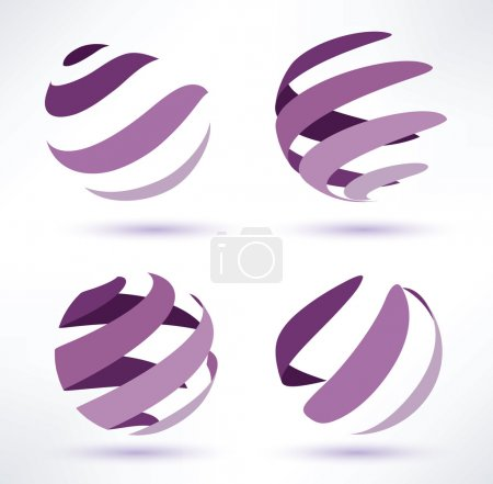Illustration for Abstract globe set of 3d icons - Royalty Free Image