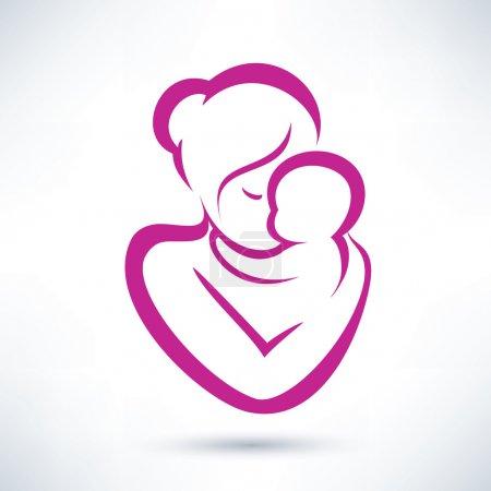 Illustration pour Maman et vecteur de bébé icône - image libre de droit