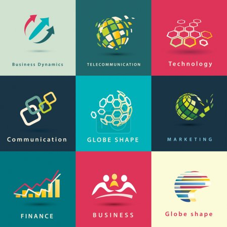 Illustration pour Abstrait affaires et technologie vector icons set - image libre de droit