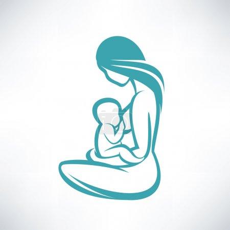 Illustration pour Mère allaitant son bébé - image libre de droit