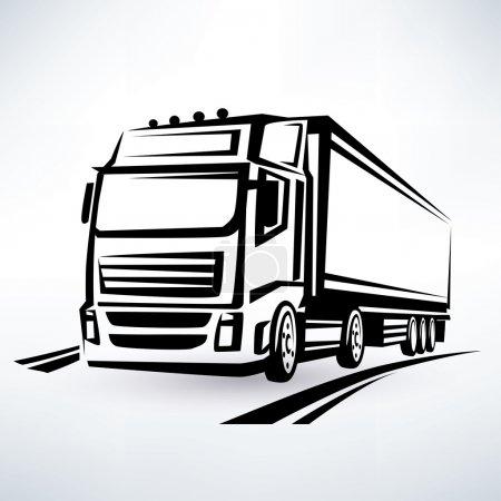 Illustration pour Symbole vectoriel tracé par camion européen - image libre de droit