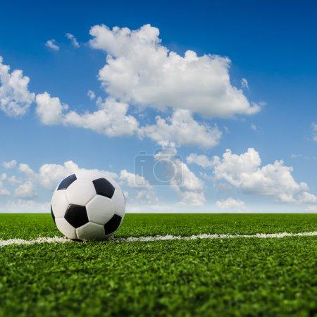 Soccer Football on the soccer field.