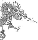 Chinese Style Dragon Statue Vector line Sketched Up EPS 10
