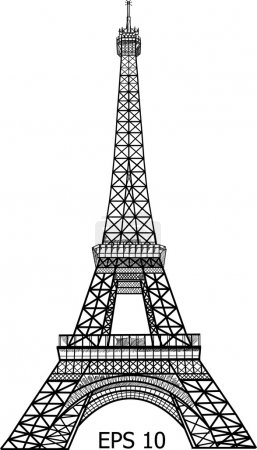 Illustration for Eiffel Tower in Paris vector illustration, EPS 10. - Royalty Free Image