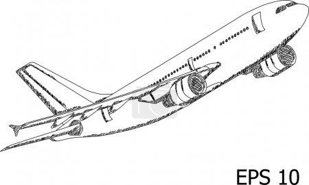 Airplane Vector Line Illustrator, EPS 10.