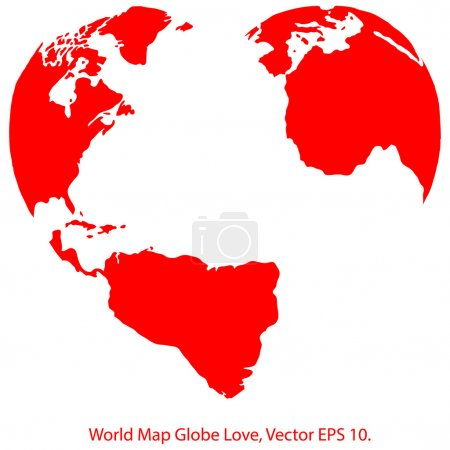 Illustration for Heart World Map Globe Vector Illustrator, EPS 10. - Royalty Free Image