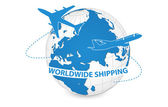Airplane Air Craft Shipping Around the World for Worldwide Shipping Concept Vector Illustration EPS 10