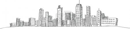 Illustration for Cityscape Vector Illustration Line Sketched Up, EPS 10. - Royalty Free Image