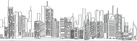 Cityscape Vector Illustration Line Sketched Up, EPS 10.