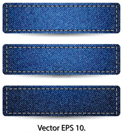 Blue Denim Jean TAG Label Texture Background, Vector Illustration EPS 10.
