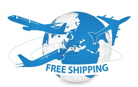 Air Craft Shipping Around the World, Free Shipping Concept