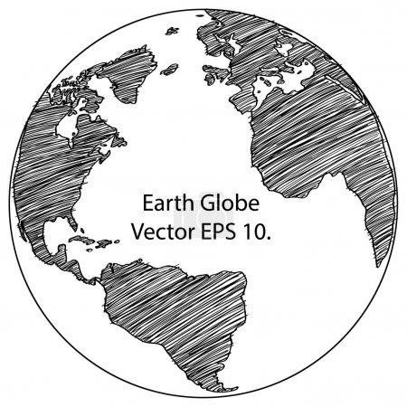 Illustration pour Monde carte terre globe vecteur ligne esquissée par illustrator, eps 10. - image libre de droit