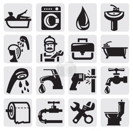 Illustration for Vector black bathroom icons sey on gray - Royalty Free Image