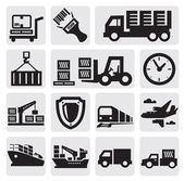 Vector black logistic and shipping icon set