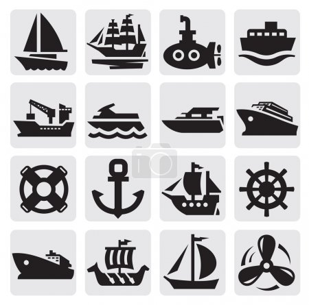 Illustration for Vector black boat and ship icons set - Royalty Free Image
