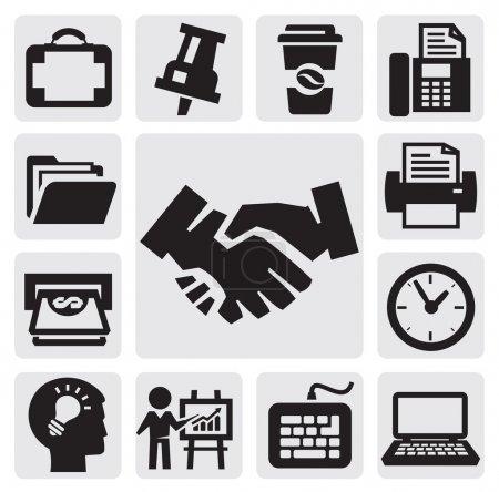 Illustration pour Ensemble d'icônes de bureau et d'affaires noir vectoriel - image libre de droit