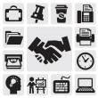 Vector black office and business icons set...