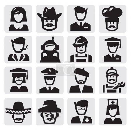 Photo pour Icône des professions noires vectorielles sur gris - image libre de droit