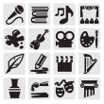 Vector black arts icon set on gray...