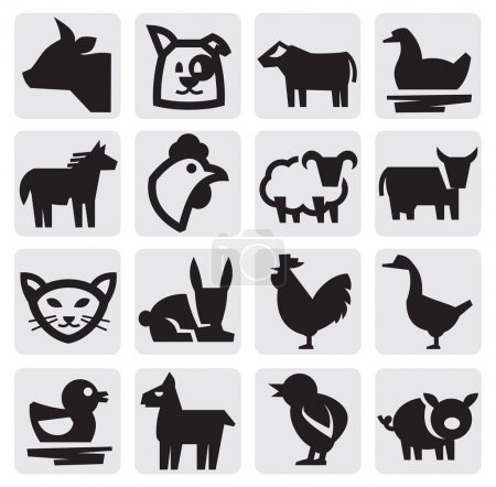 Vector black farm animals icon set on gray...