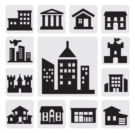 Illustration for Vector black hous icons set on gray - Royalty Free Image