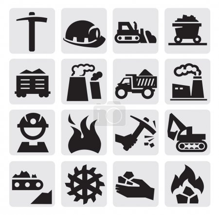 Photo for Vector black coal mining industry icons set - Royalty Free Image
