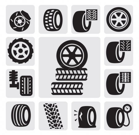 Illustration for Vector black tire icons set on gray - Royalty Free Image