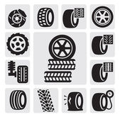 Vector black tire icons set on gray