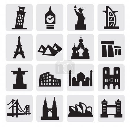 Vector black travel and landmarks icons set...