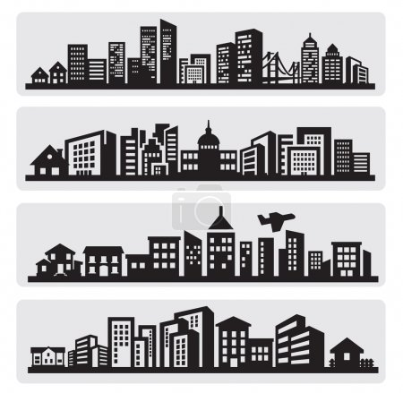Photo for Vector black cities silhouette icon set on gray - Royalty Free Image