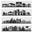 Vector black cities silhouette icon set on gray...