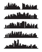 Vector black city icons set on gray