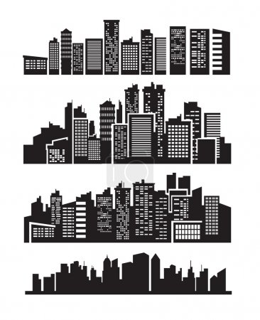 Photo for Vector black city icons set on gray - Royalty Free Image