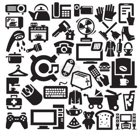 Photo pour Icônes d'appareils électroménagers vectoriels noirs sur gris - image libre de droit