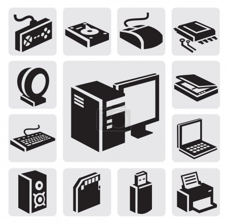 Illustration for Vector black computer icon set on gray - Royalty Free Image