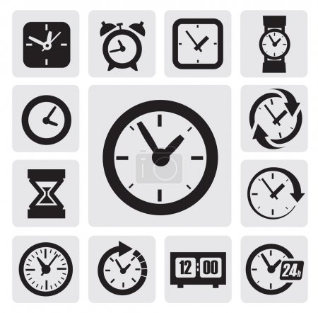 Illustration for Vector black clocks icons in the gray squares - Royalty Free Image