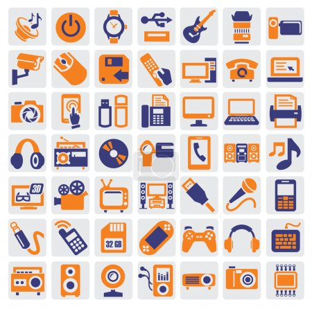 Photo for Big icon set of electronic devices on gray - Royalty Free Image