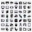 Big icon set of electronic devices on gray...