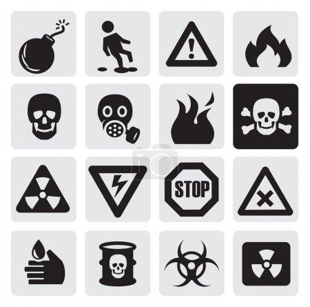 Illustration for Vector black danger icons set on gray - Royalty Free Image