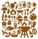Vector brown barbecue icons set on gray